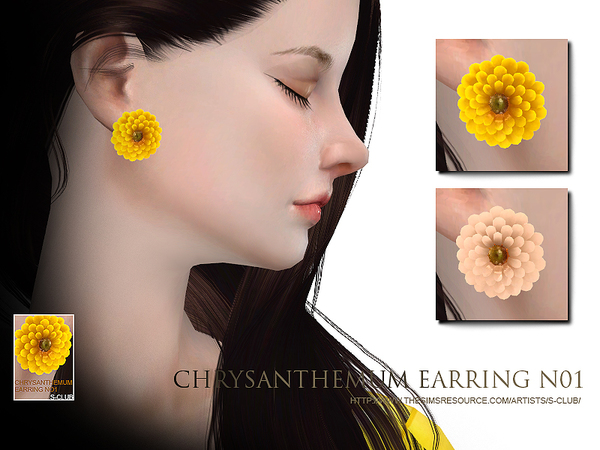 S-Club WM thesims4 chrysanthemum earring N01