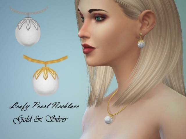 SimPeopleRampage Leafy Pearl Necklace by SimPeopleRampage