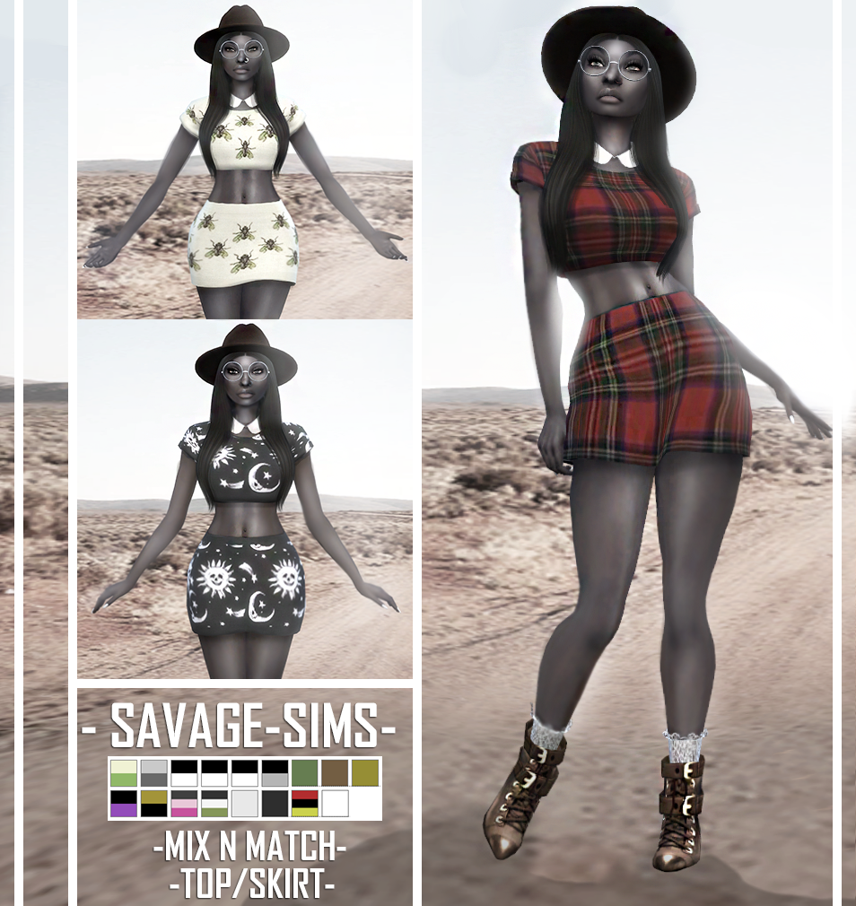 Mix & Match Top and Skirt by SavageSims