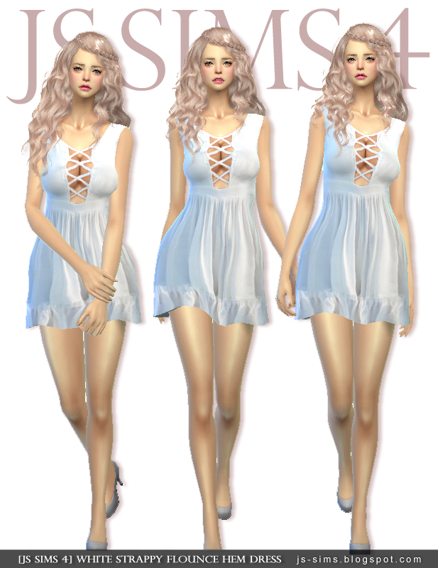 White Strappy Flounce Hem Dress by JS Sims 4
