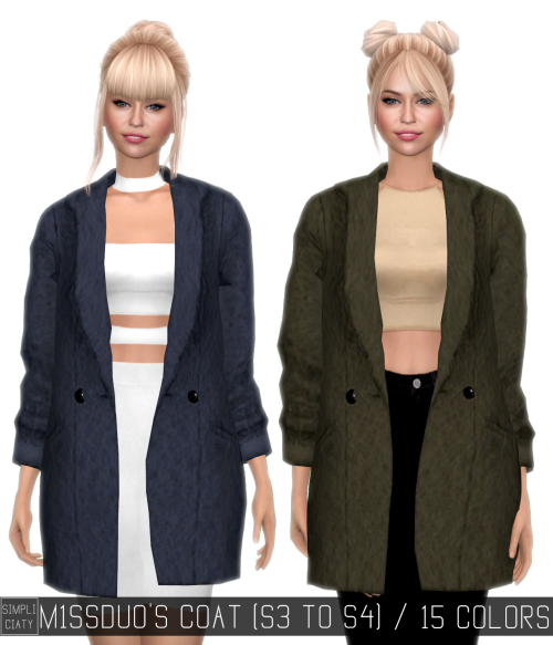TS3 Accessory Coat Conversion for Females by Simpliciaty