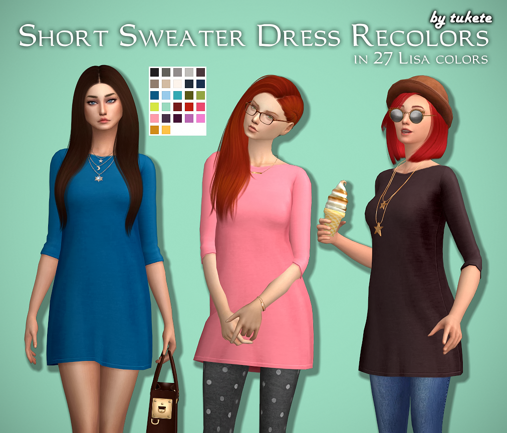 Short Sweater Dress in 27 Recolors by Tukete