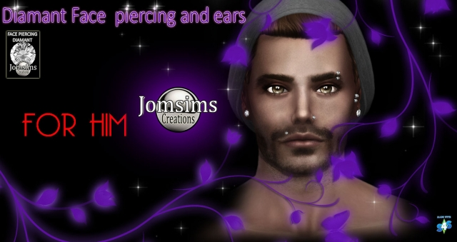 Diamond Face Piercing and Ears FOR HIM by JomSims