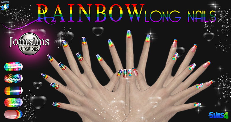 Rainbow Long Nails by JomSims