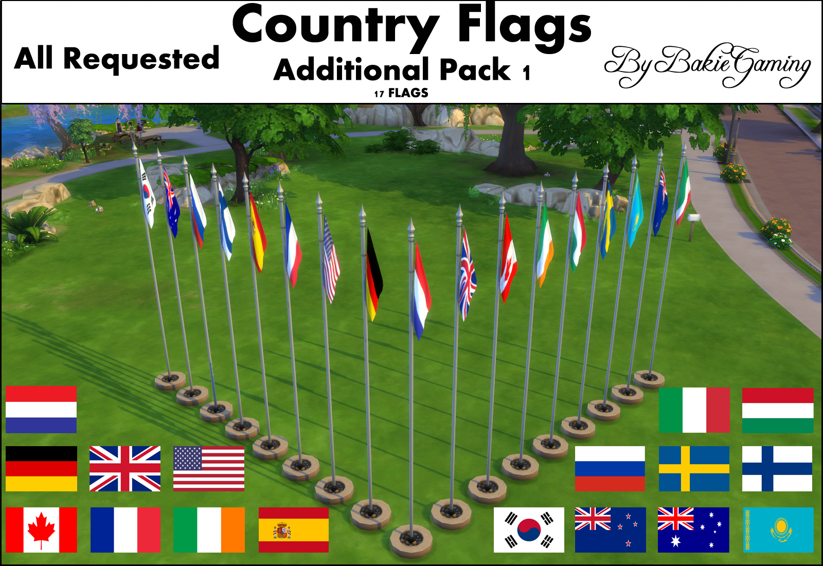 Animated Country Flagpoles - Pack 1 by Bakie