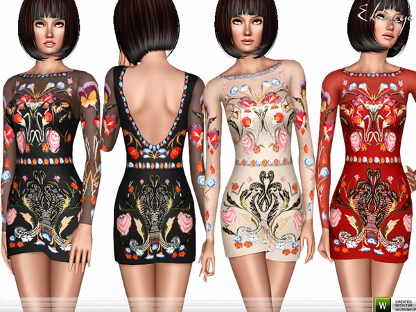 Flowers Embroidered Dress by ekinege