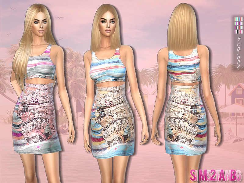 184 - Printed summer outfit by sims2fanbg
