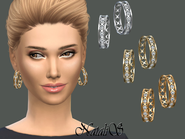 NataliS_Cage and crystals hoop earrings