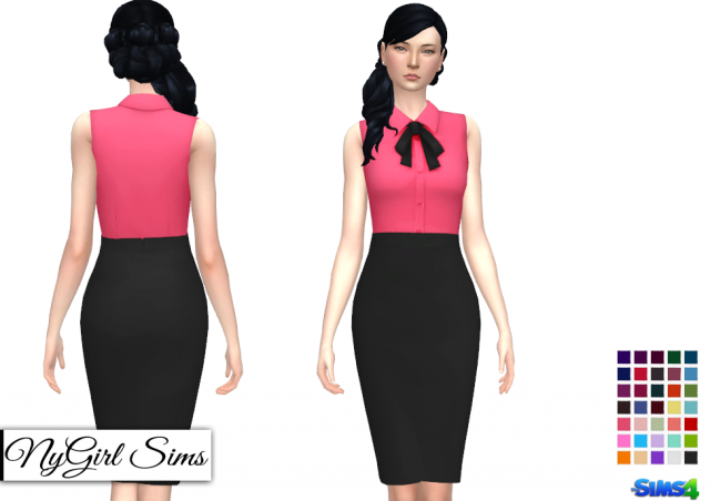 Button and Bow High Skirt Bodycon by NyGirl
