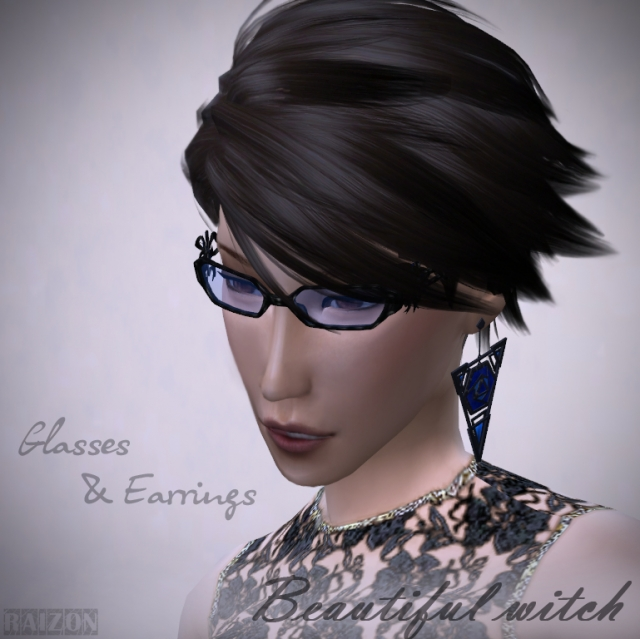 Glasses and Earings Beautiful Witch by Raizon