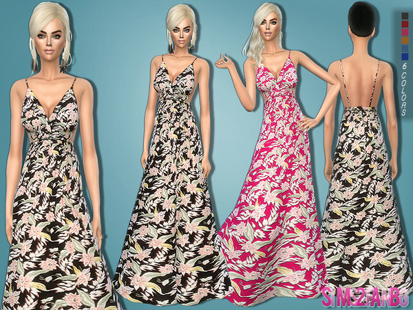 85 Long floral dress by sims2fanbg
