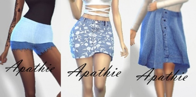 Jeans set - Long & short skirt & shorts by Apathie