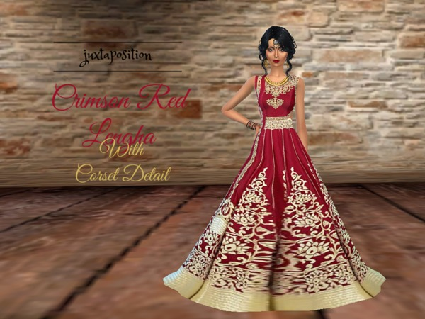 Crimson Red Lengha by Juxtaposition
