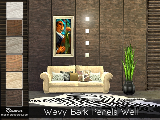 Wavy Bark Panels Wall by Rirann