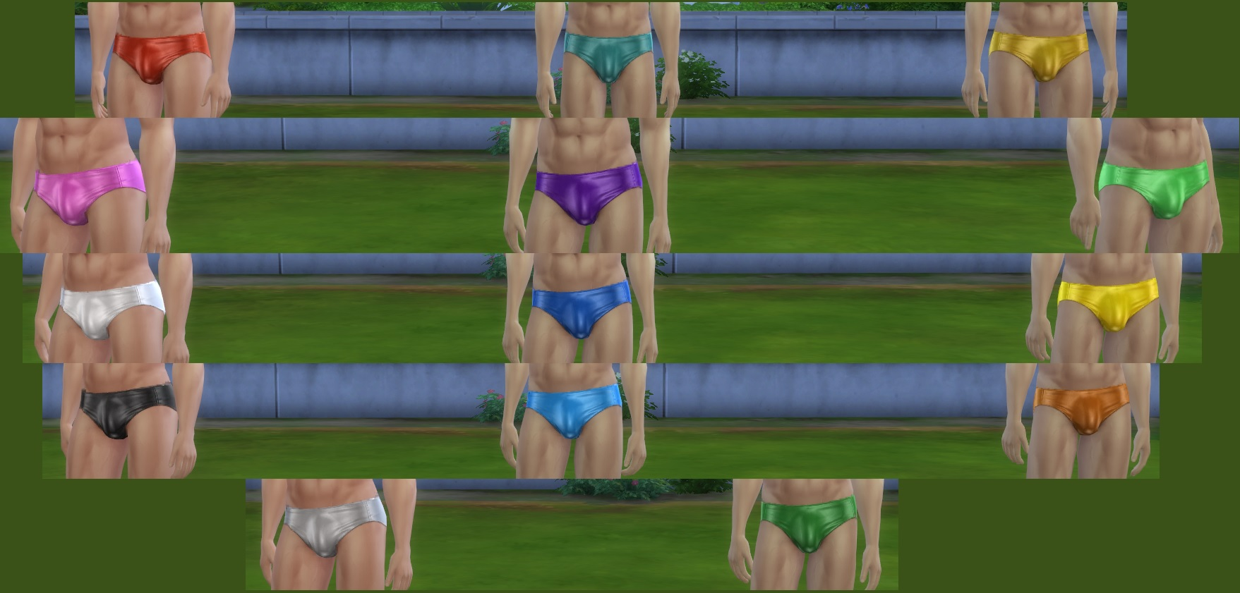 Male Sims - shiny speedos - swimwear by linkster123