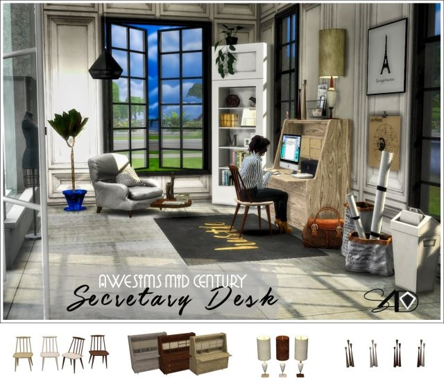 Awesims Secretary Desk Set by Daer0n