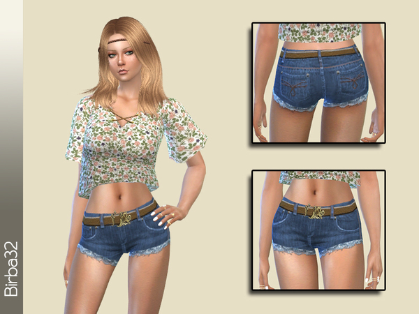 Denim Shorts with Belt by Birba32