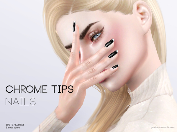Chrome Tips Nails N15 by Pralinesims