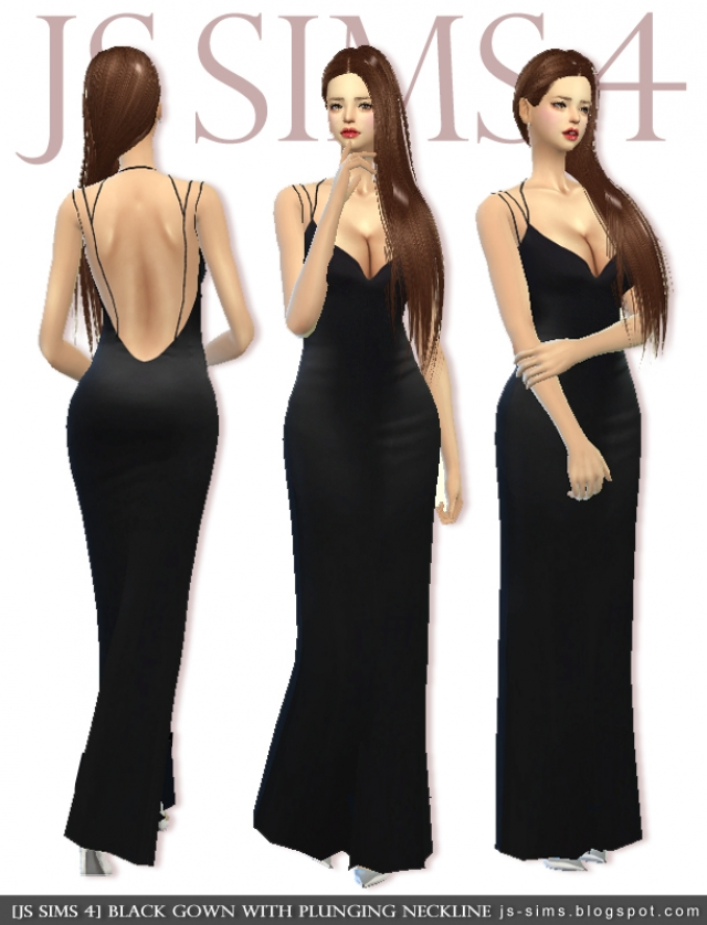 Black Gown With Plunging Neckline by JS Sims 4