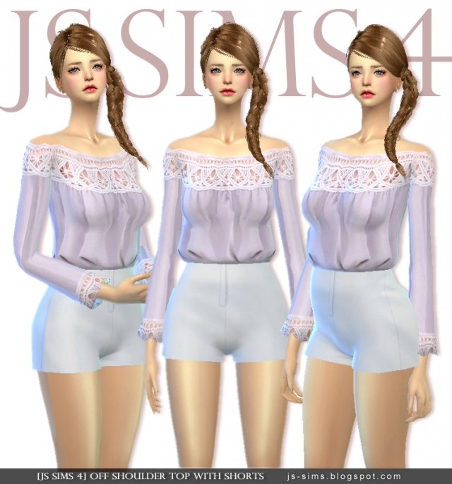 Off Shoulder Top With Shorts by JS SIMS 4