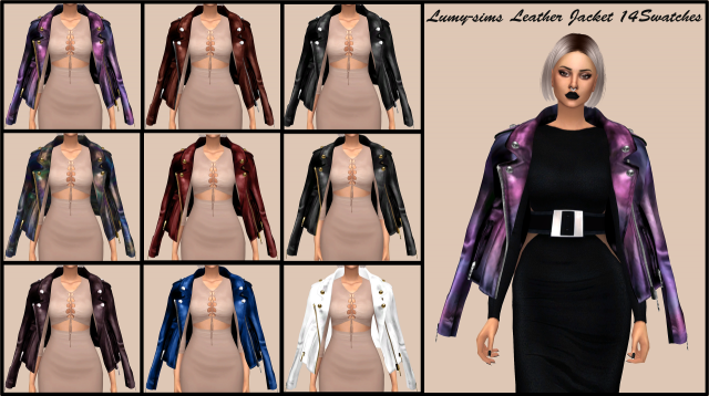 Oversized Leather Jacket by lumy-sims