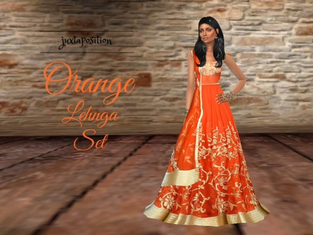 Orange Lehnga Set by Juxtaposition