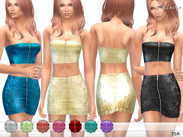 Sequin Top & Skirt - Set15 by ekinege