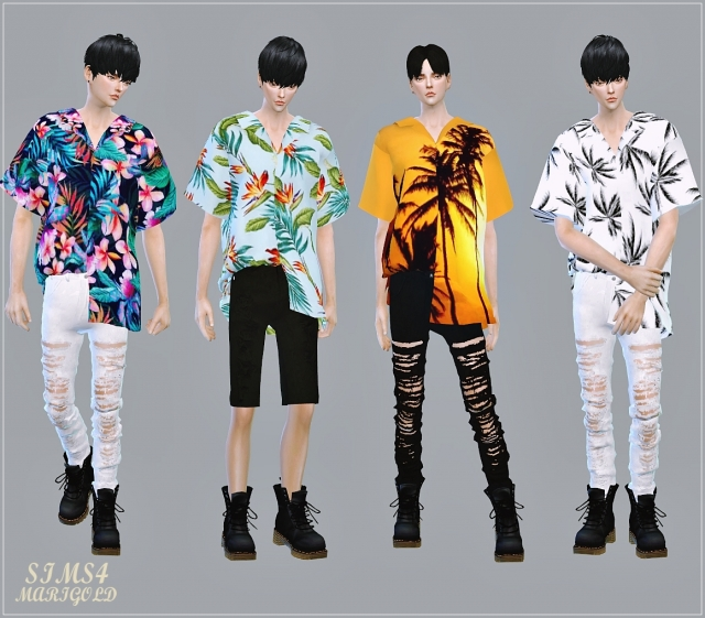 Male Unbalance Hawaiian Shirts by Marigold