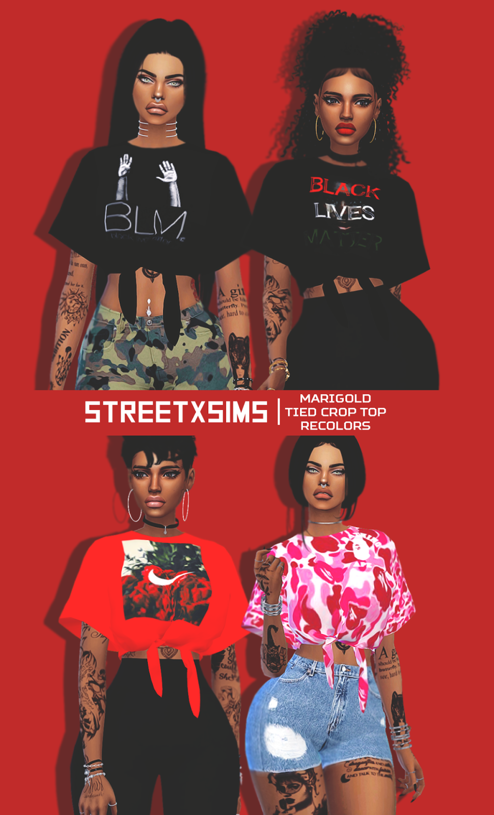 Crop Top Recolors by StreetXSims