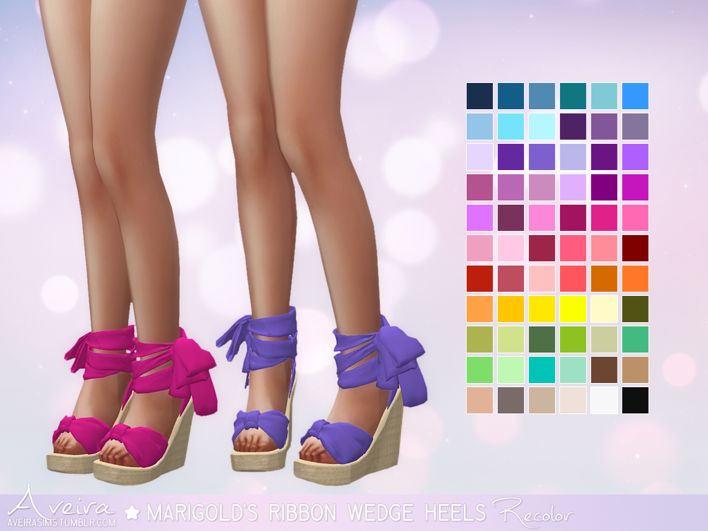 Ribbon Wedge Heels Recolors by AveiraSims