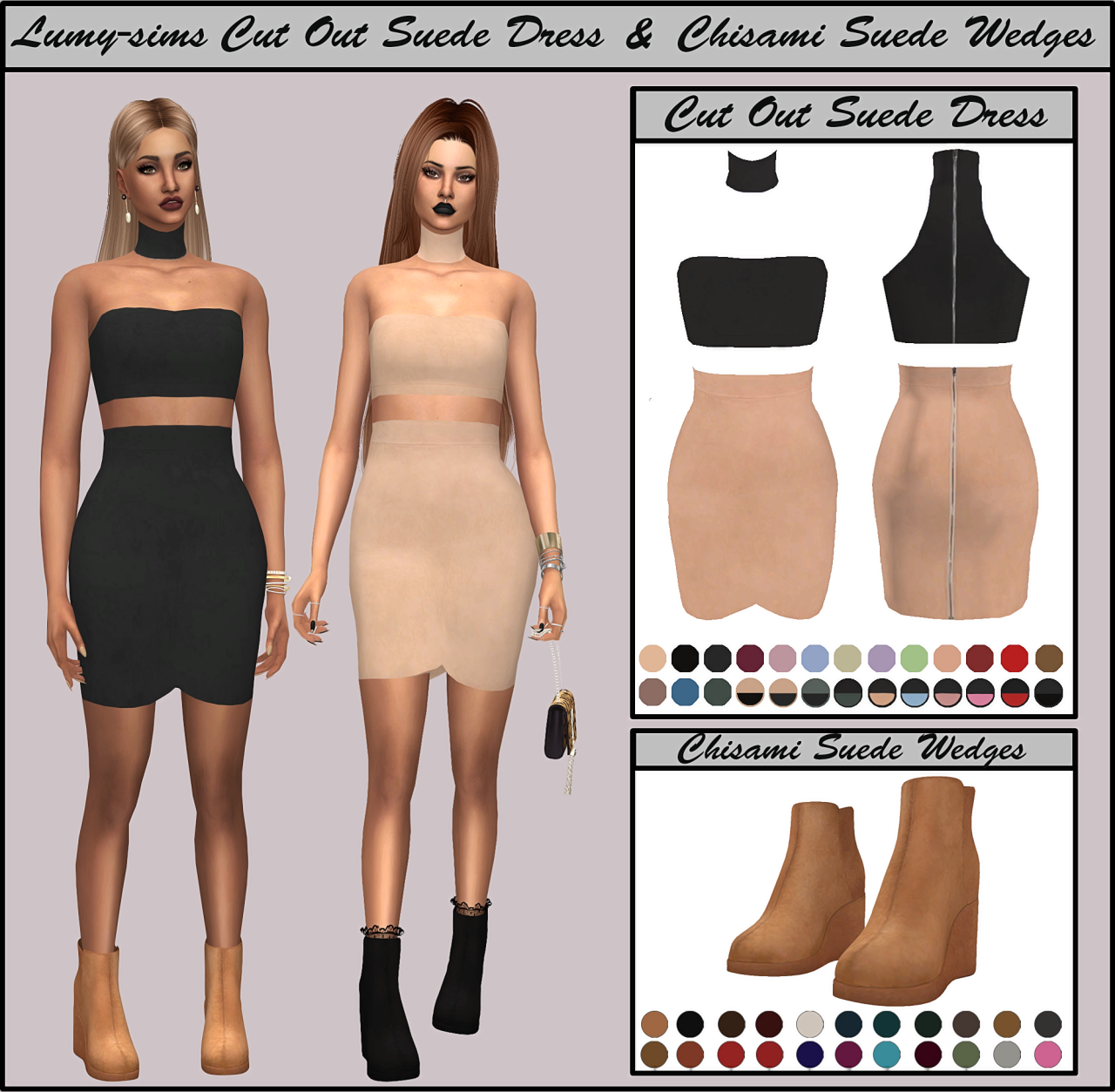 Suede Dress and Shoes by LumySims