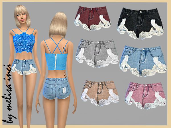 Floral Lace Splicing Hole Shorts by melisa inci