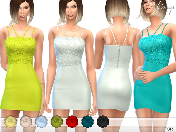 Strappy Lace Bodycon Dress by ekinege