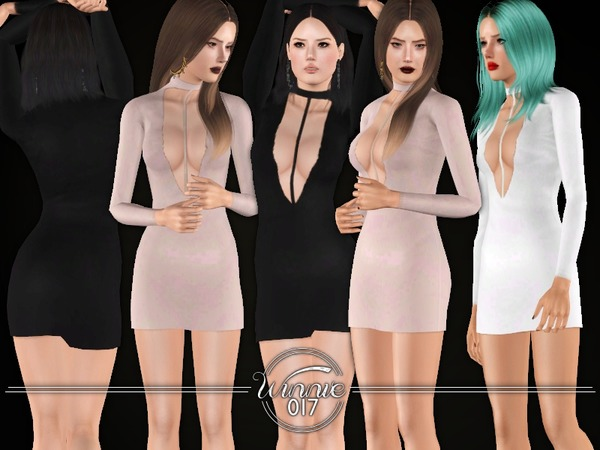 Deep Cut & High Neck - Mini Dress by winnie017