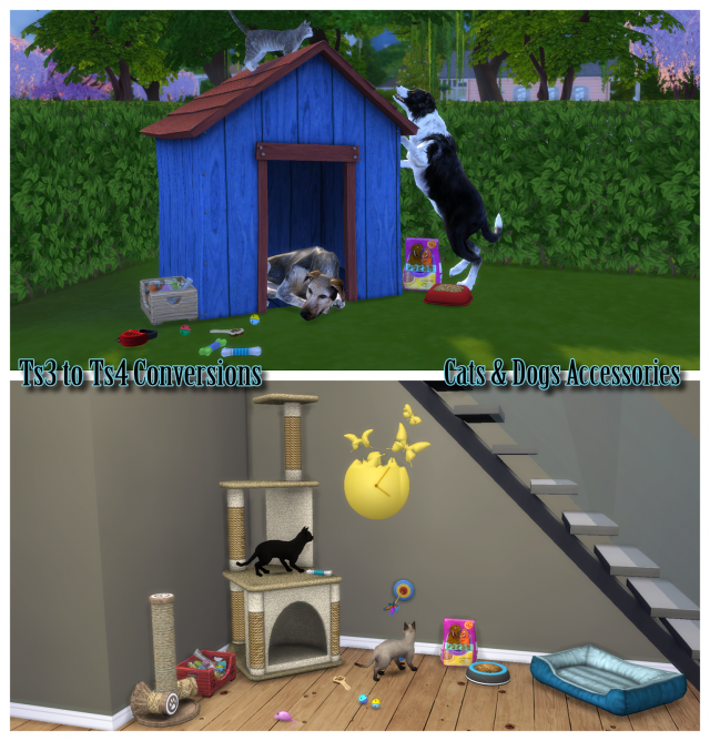 TS3 Cat and Dog Accessories Conversions by EnureSims
