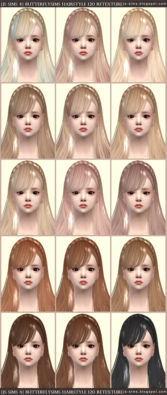 ButterflySims 120 Hair Retexture by JS Sims 4