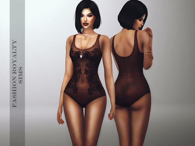 Dark Lace Bodysuit by fashionroyaltysims