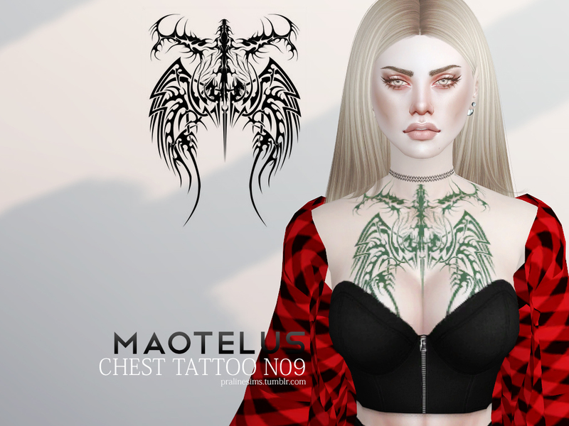 Maotelus Chest Tattoo N09 by Pralinesims