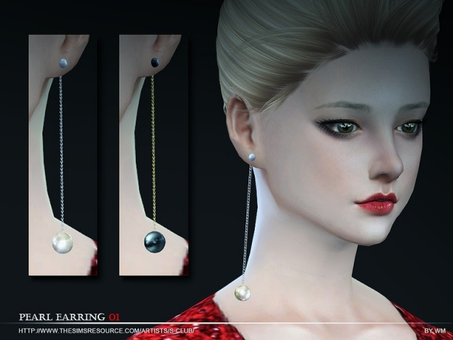 WM ts4 Pearl earring N01 by S-Club