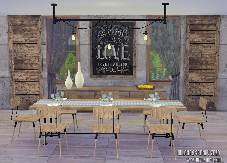 Dining Set for TS4 by Milana & Granny Zaza