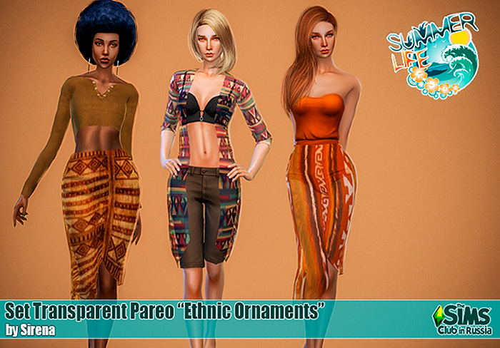 "Set transparent pareo ""Ethnic ornaments"" by Sirena"