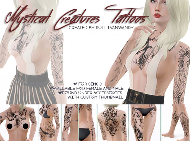 Mystical Creatures Tattoos set by sullivanwandy