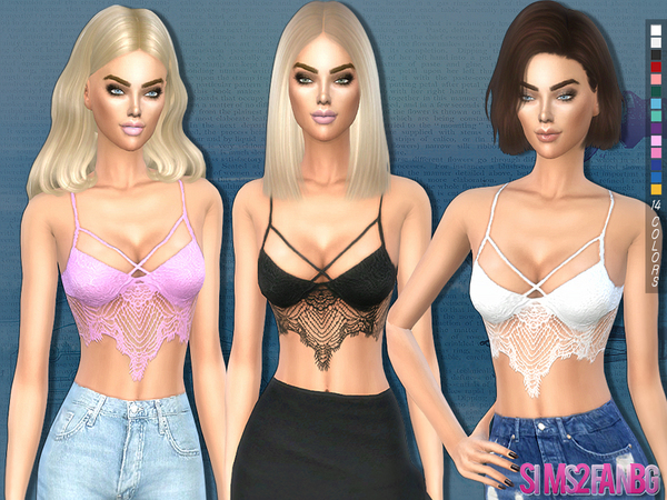 194 - Lace top by sims2fanbg