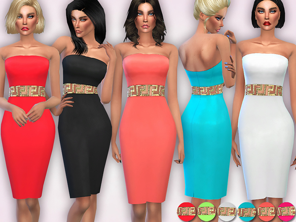 Gold Embellished Waist Bodycon Dress by Harmonia
