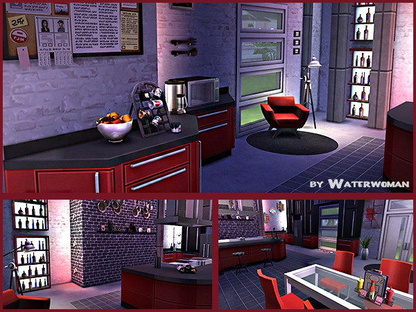 Red Wine Kitchen (Sims 4) by Waterwoman