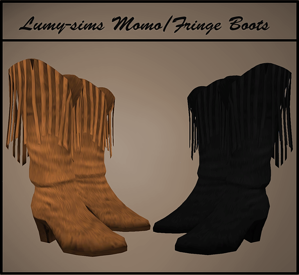 TS3 Momo Fringe Boots Conversion by LumySims