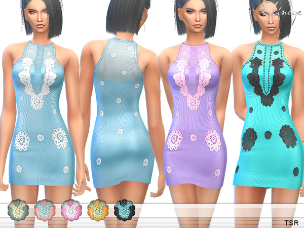 Applique Mini Dress by ekinege
