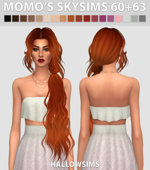 TS2 Momo's Skysims 60+63 Hair Conversion by HallowSims
