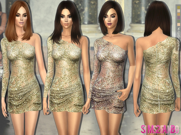 197 - Designer golden dress by sims2fanbg