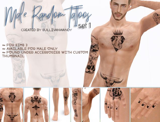 Male Random tattoos set (full body) by sullivanwandy